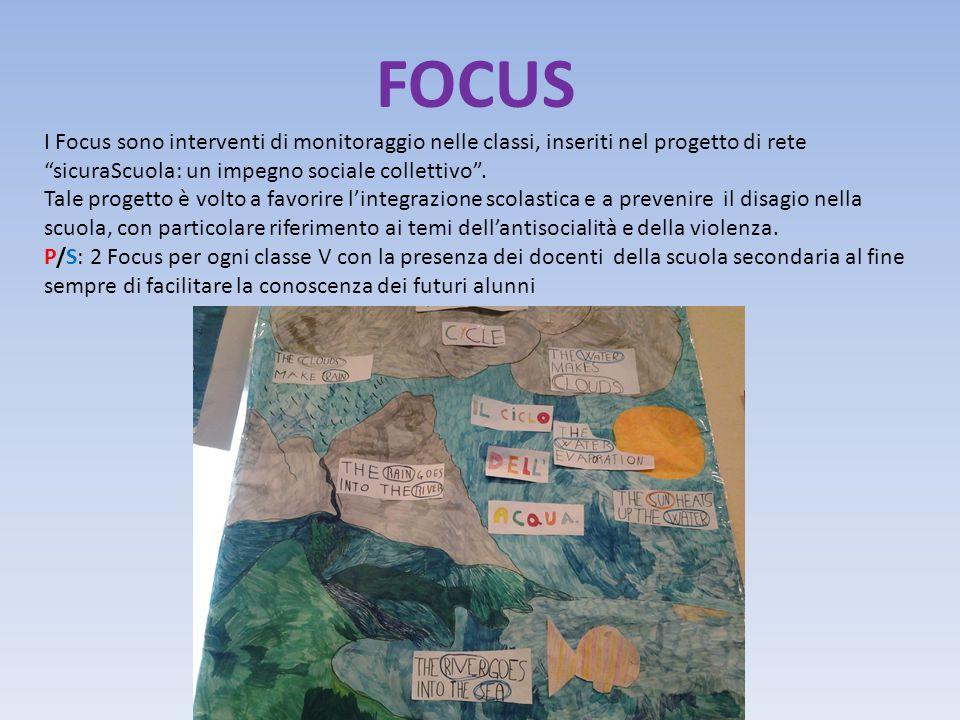 FOCUS I Focus sono interventi di monitoraggio nelle classi, inseriti nel progetto di rete sicuraScuola: un impegno sociale collettivo .