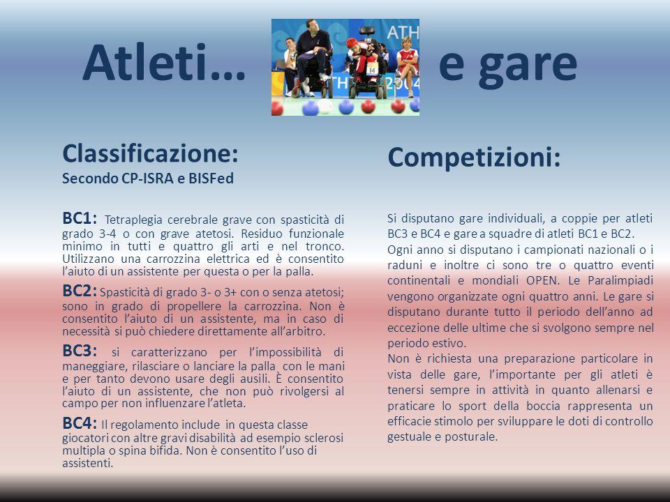 Atleti… e gare Competizioni: Classificazione: