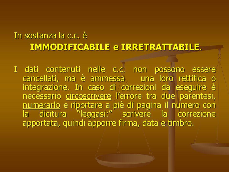 IMMODIFICABILE e IRRETRATTABILE.