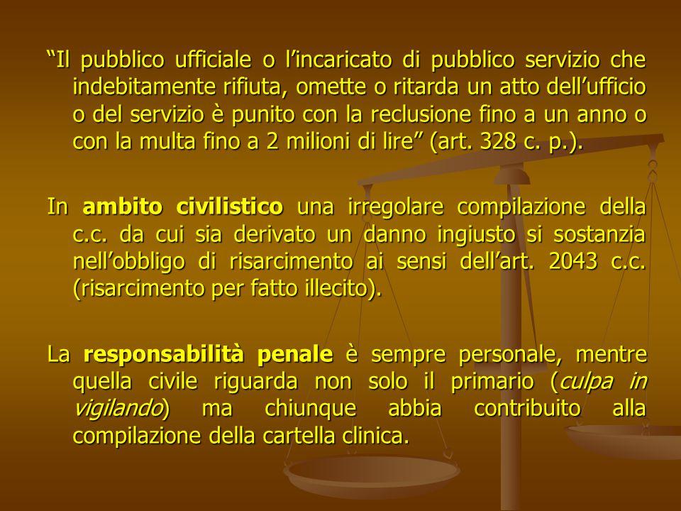 Il pubblico ufficiale o l'incaricato di pubblico servizio che indebitamente rifiuta, omette o ritarda un atto dell'ufficio o del servizio è punito con la reclusione fino a un anno o con la multa fino a 2 milioni di lire (art. 328 c. p.).