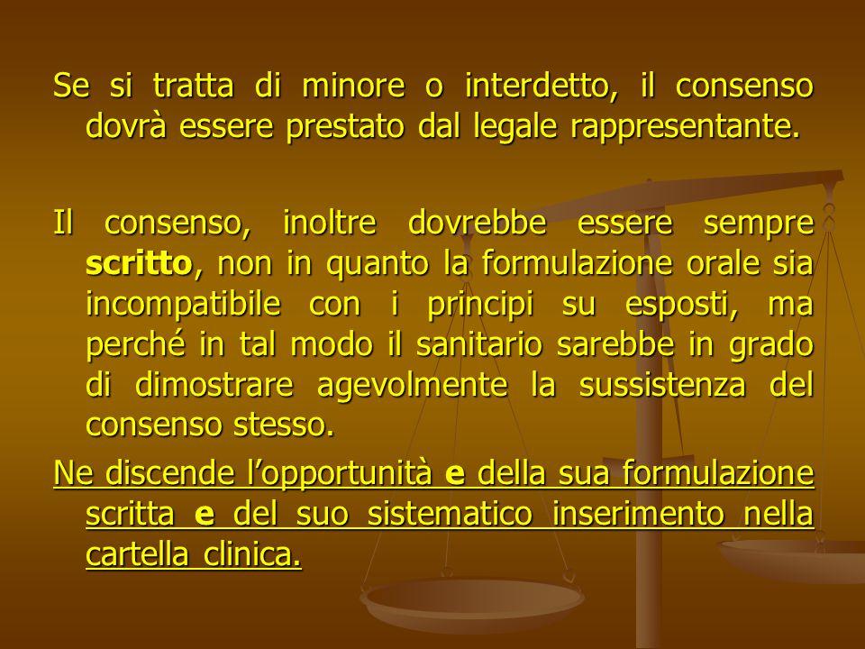 Se si tratta di minore o interdetto, il consenso dovrà essere prestato dal legale rappresentante.