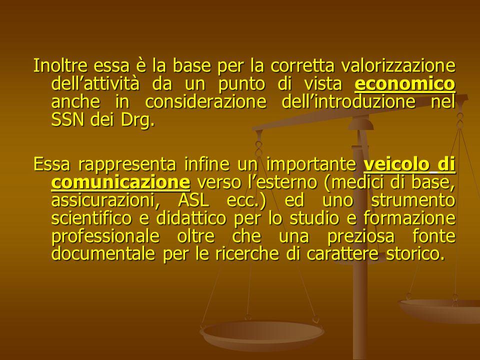 Inoltre essa è la base per la corretta valorizzazione dell'attività da un punto di vista economico anche in considerazione dell'introduzione nel SSN dei Drg.