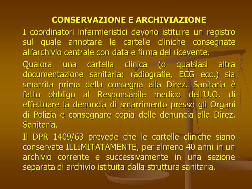 CONSERVAZIONE E ARCHIVIAZIONE
