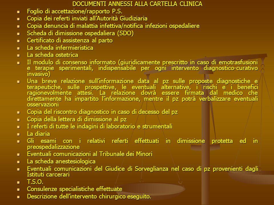 DOCUMENTI ANNESSI ALLA CARTELLA CLINICA