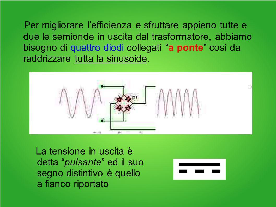 Per migliorare l'efficienza e sfruttare appieno tutte e due le semionde in uscita dal trasformatore, abbiamo bisogno di quattro diodi collegati a ponte così da raddrizzare tutta la sinusoide.