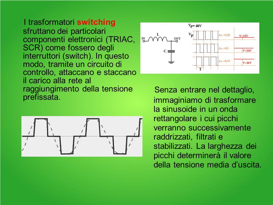 I trasformatori switching sfruttano dei particolari componenti elettronici (TRIAC, SCR) come fossero degli interruttori (switch). In questo modo, tramite un circuito di controllo, attaccano e staccano il carico alla rete al raggiungimento della tensione prefissata.