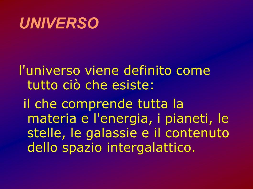 UNIVERSO l universo viene definito come tutto ciò che esiste: