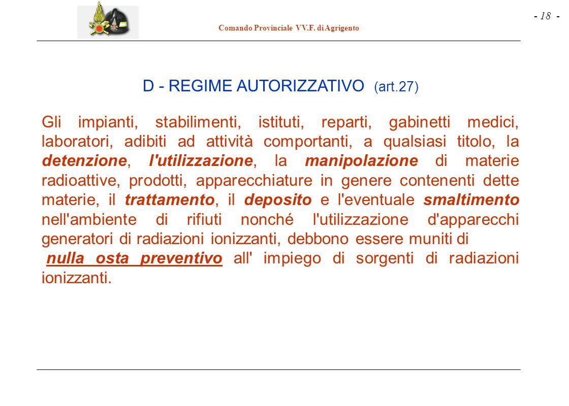 D - REGIME AUTORIZZATIVO (art.27)