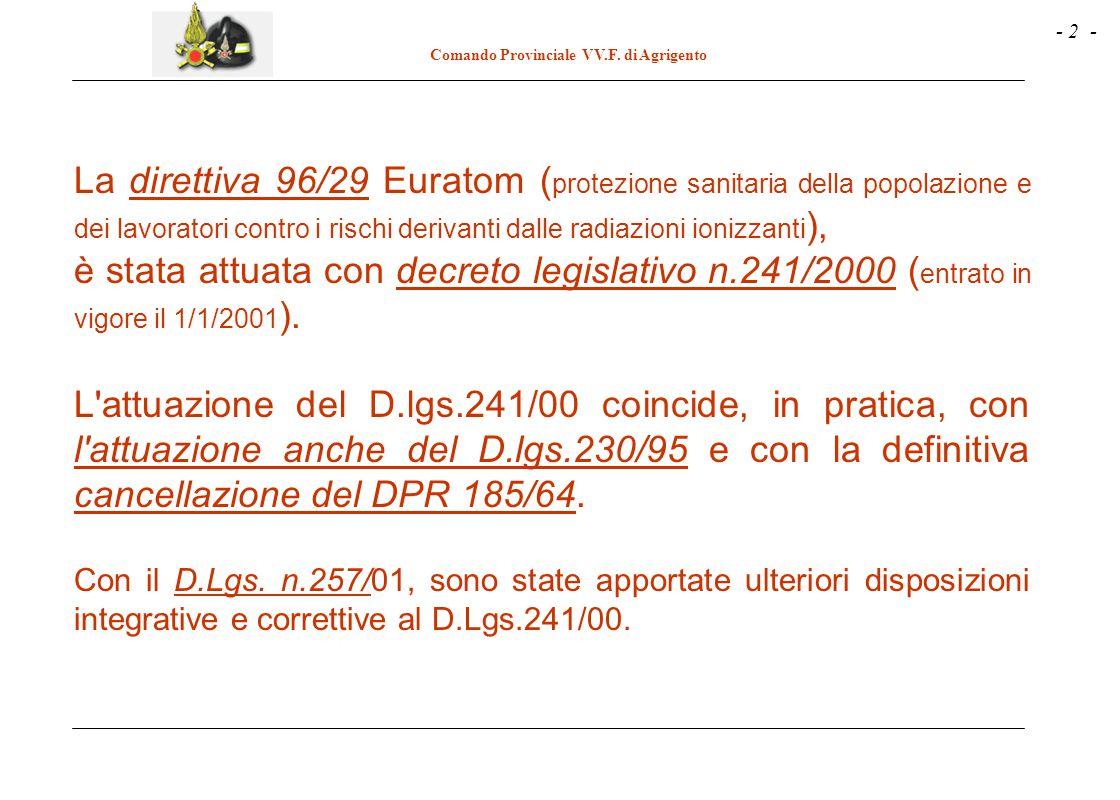 La direttiva 96/29 Euratom (protezione sanitaria della popolazione e dei lavoratori contro i rischi derivanti dalle radiazioni ionizzanti),