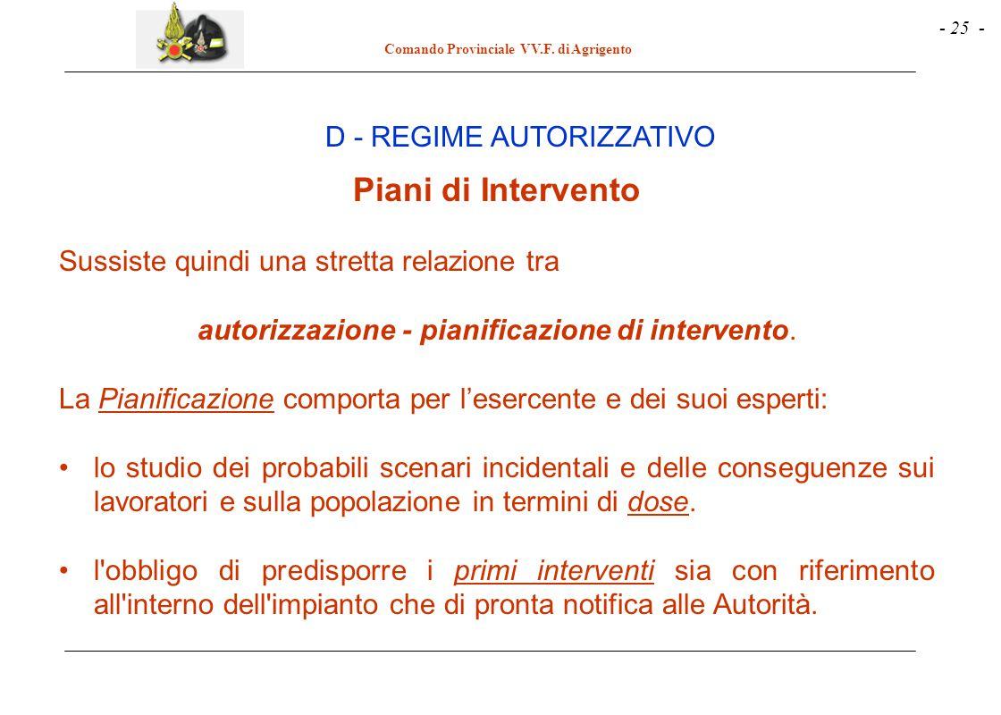 Piani di Intervento D - REGIME AUTORIZZATIVO