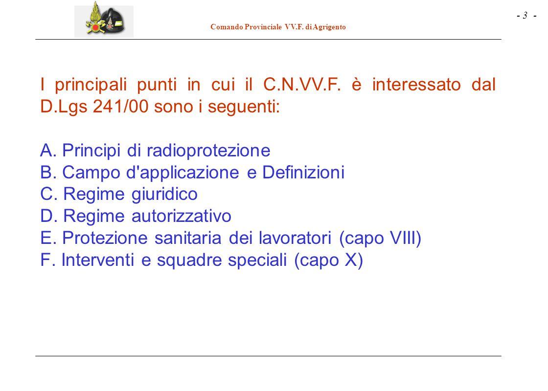 I principali punti in cui il C. N. VV. F. è interessato dal D