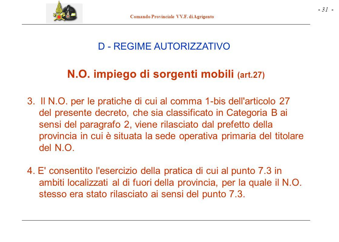 N.O. impiego di sorgenti mobili (art.27)
