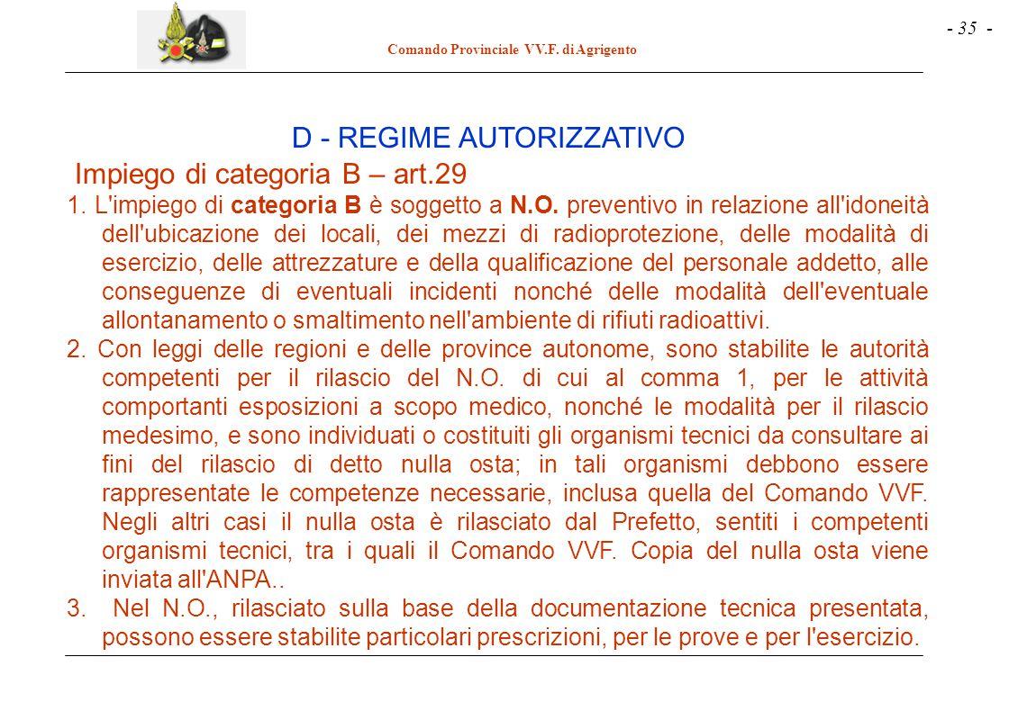 D - REGIME AUTORIZZATIVO