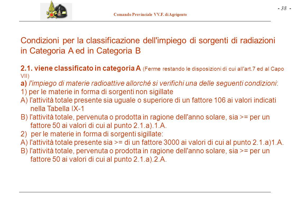 Condizioni per la classificazione dell impiego di sorgenti di radiazioni in Categoria A ed in Categoria B