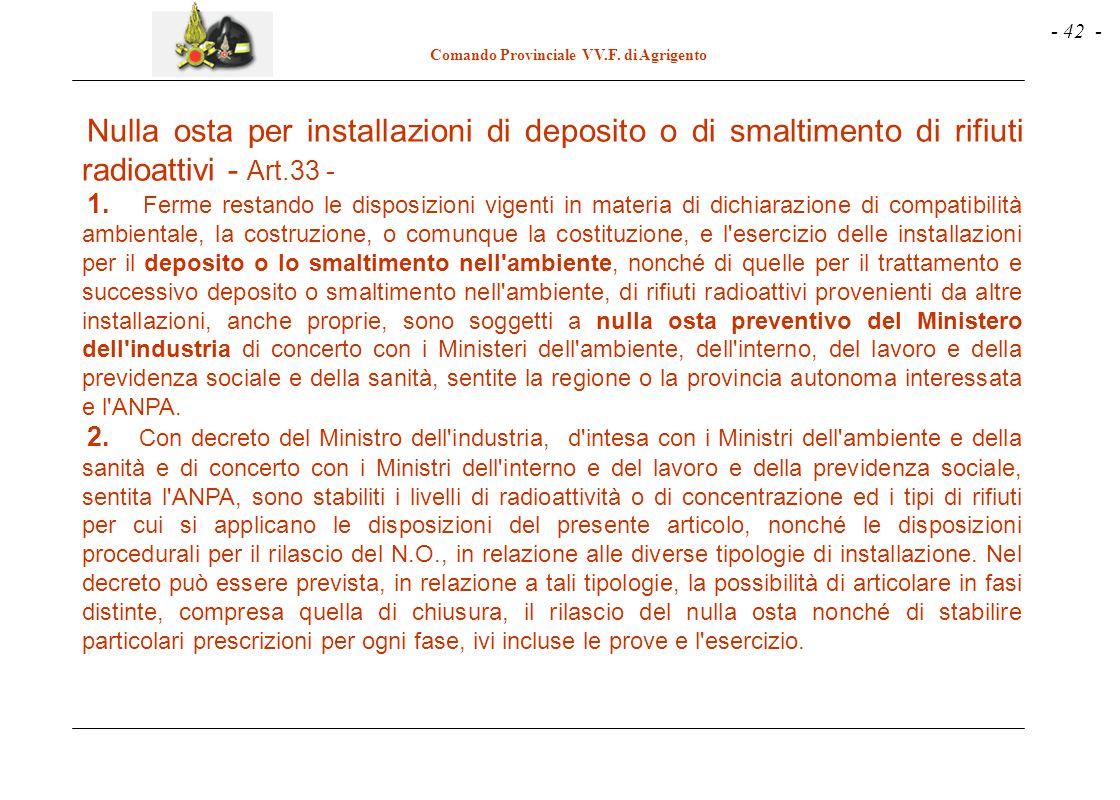 Nulla osta per installazioni di deposito o di smaltimento di rifiuti radioattivi - Art.33 -