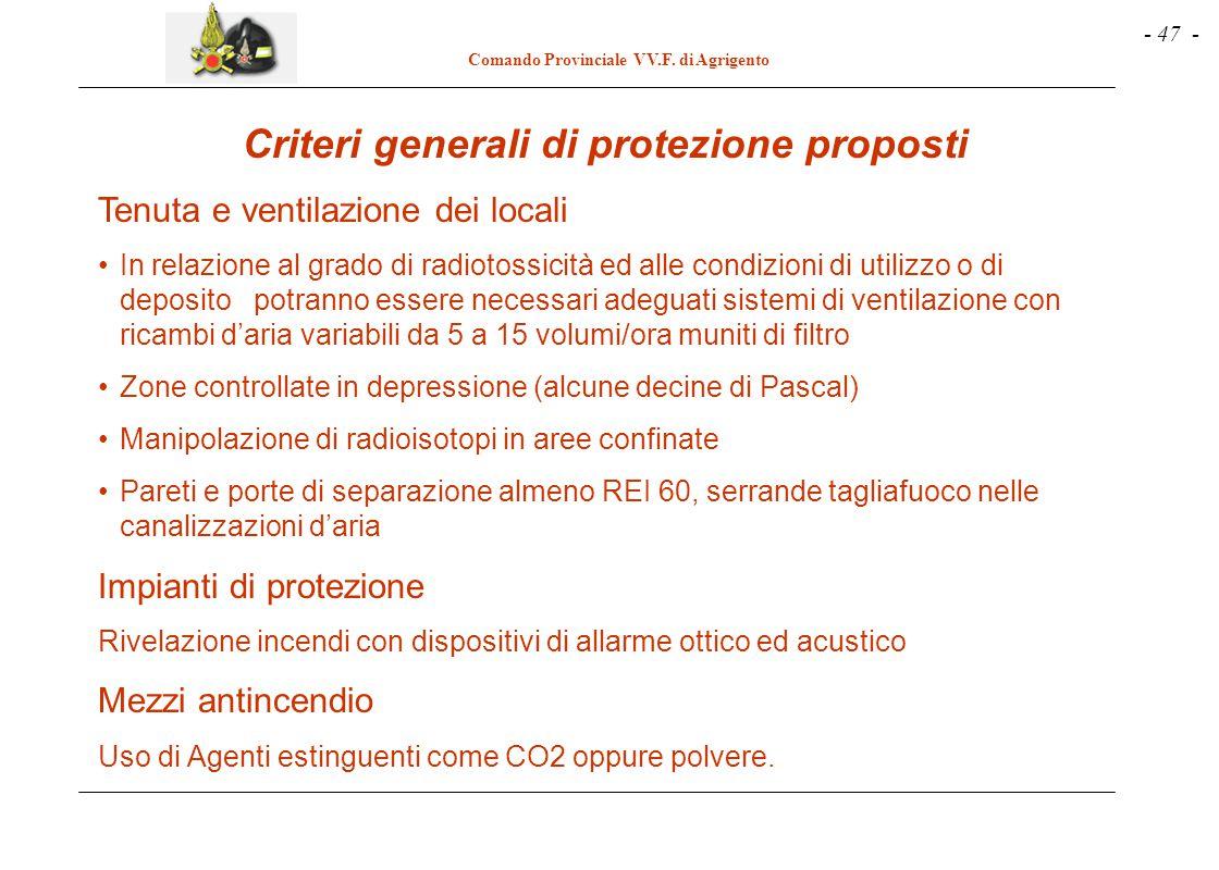 Criteri generali di protezione proposti