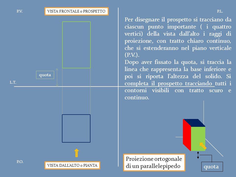 Proiezione ortogonale di un parallelepipedo quota