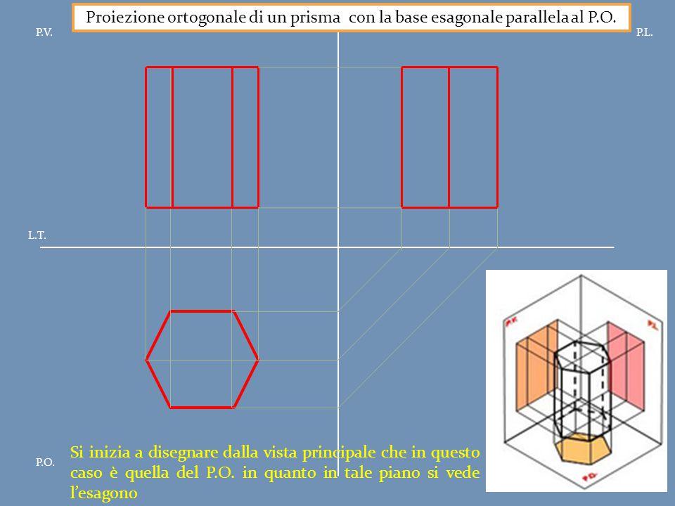 Proiezione ortogonale di un prisma con la base esagonale parallela al P.O.