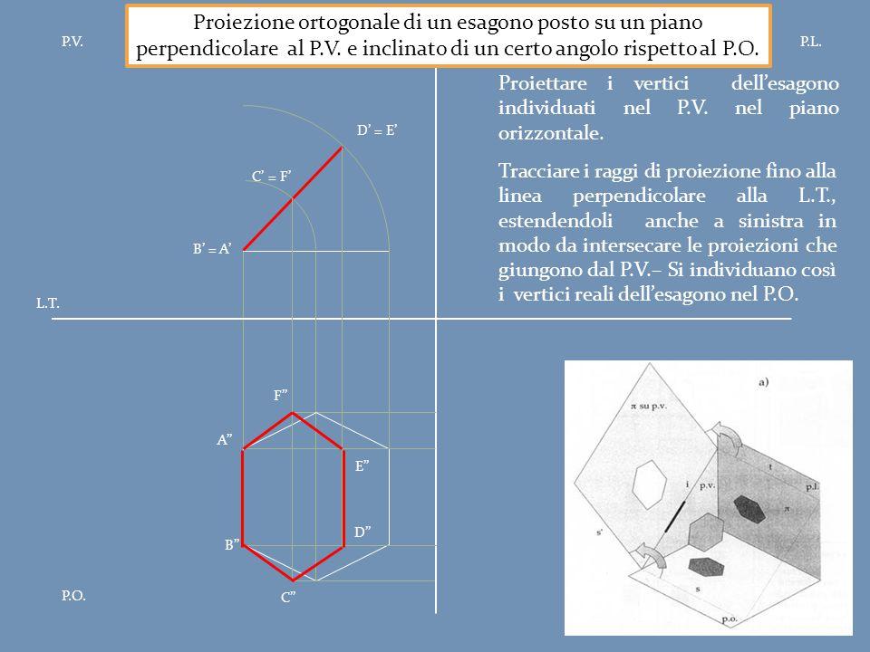Proiezione ortogonale di un esagono posto su un piano perpendicolare al P.V. e inclinato di un certo angolo rispetto al P.O.