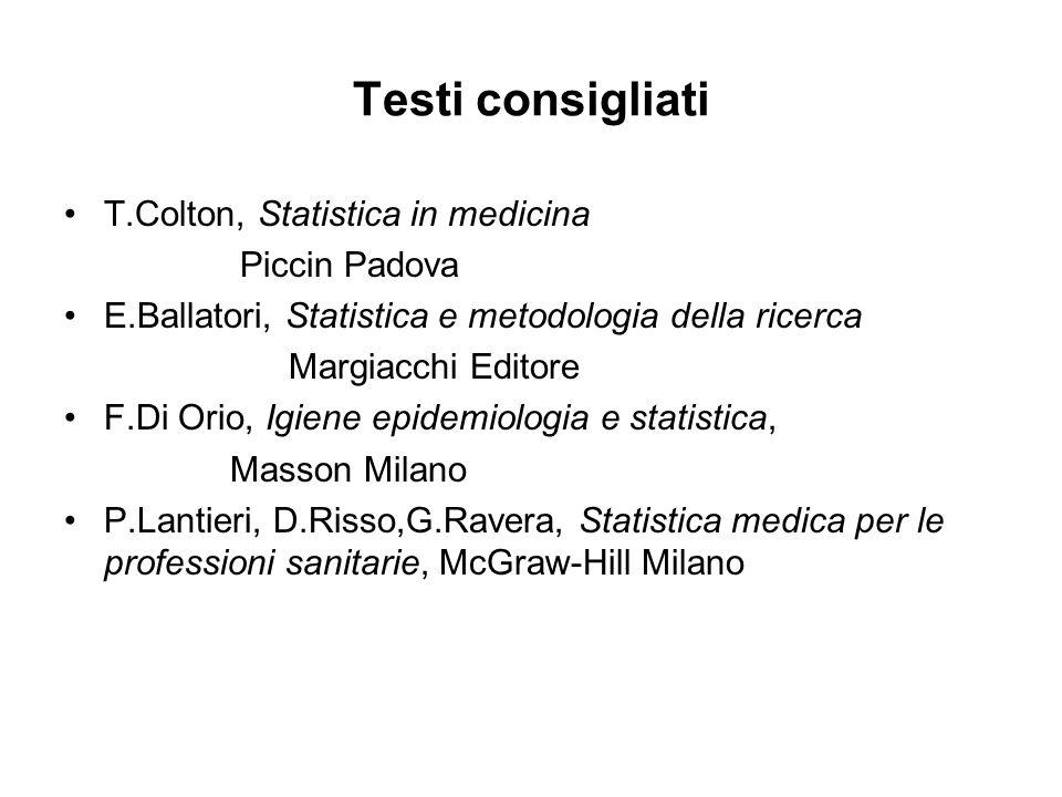 Testi consigliati T.Colton, Statistica in medicina Piccin Padova