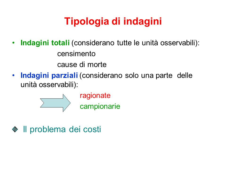 Tipologia di indagini Il problema dei costi