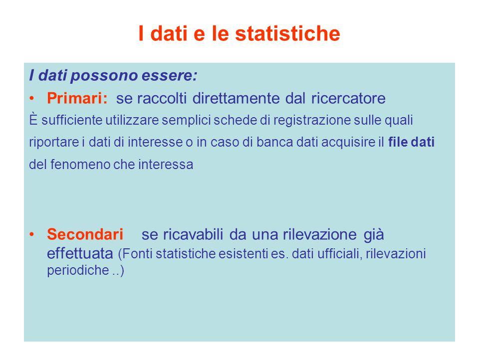 I dati e le statistiche I dati possono essere: