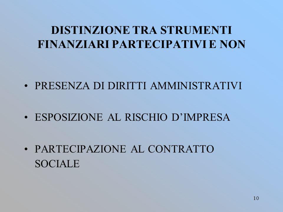 DISTINZIONE TRA STRUMENTI FINANZIARI PARTECIPATIVI E NON