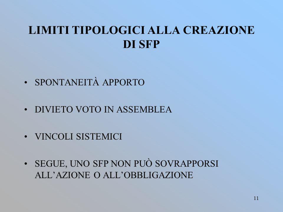 LIMITI TIPOLOGICI ALLA CREAZIONE DI SFP