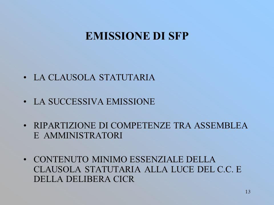 EMISSIONE DI SFP LA CLAUSOLA STATUTARIA LA SUCCESSIVA EMISSIONE