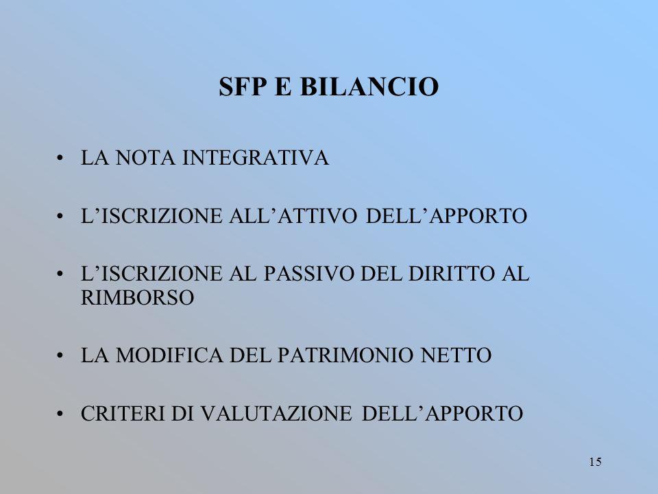SFP E BILANCIO LA NOTA INTEGRATIVA