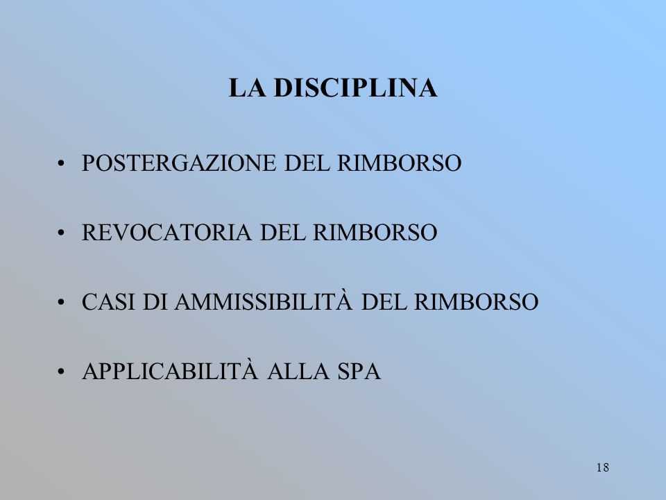 LA DISCIPLINA POSTERGAZIONE DEL RIMBORSO REVOCATORIA DEL RIMBORSO