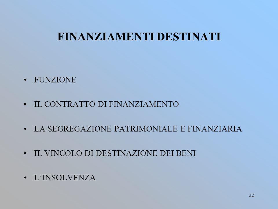 FINANZIAMENTI DESTINATI