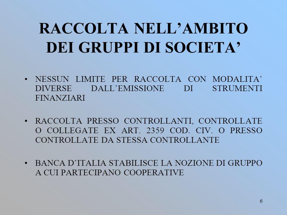 RACCOLTA NELL'AMBITO DEI GRUPPI DI SOCIETA'