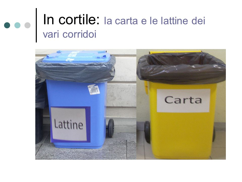 In cortile: la carta e le lattine dei vari corridoi