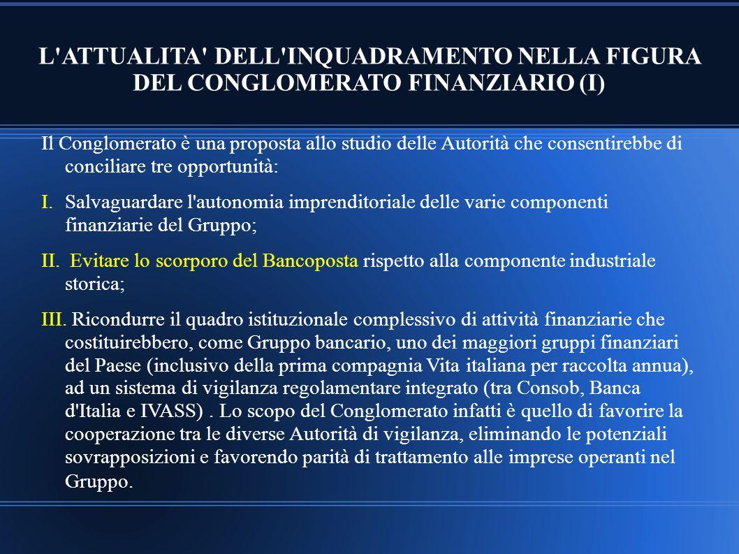 L ATTUALITA DELL INQUADRAMENTO NELLA FIGURA DEL CONGLOMERATO FINANZIARIO (I)