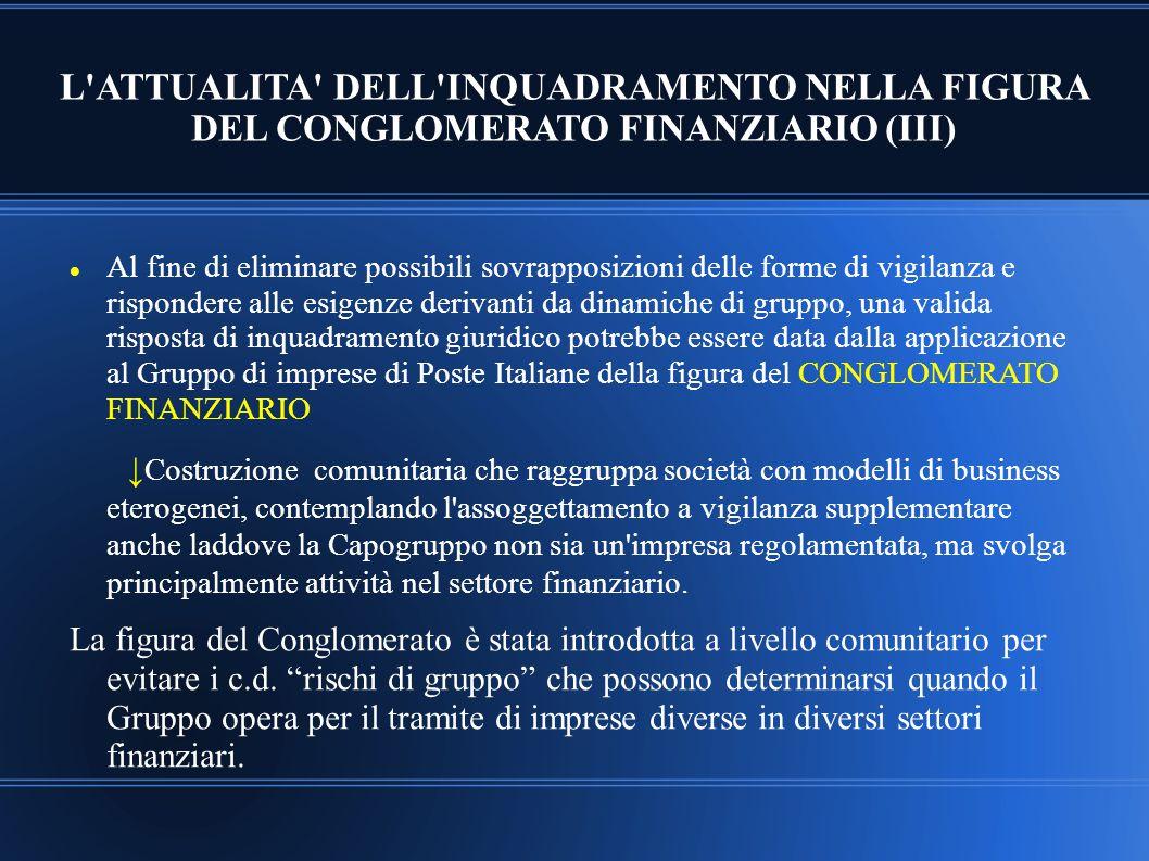 L ATTUALITA DELL INQUADRAMENTO NELLA FIGURA DEL CONGLOMERATO FINANZIARIO (III)
