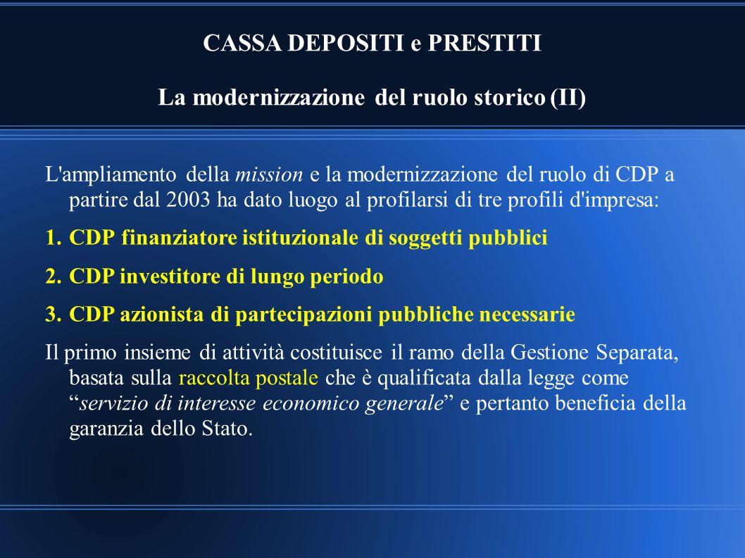 CASSA DEPOSITI e PRESTITI La modernizzazione del ruolo storico (II)