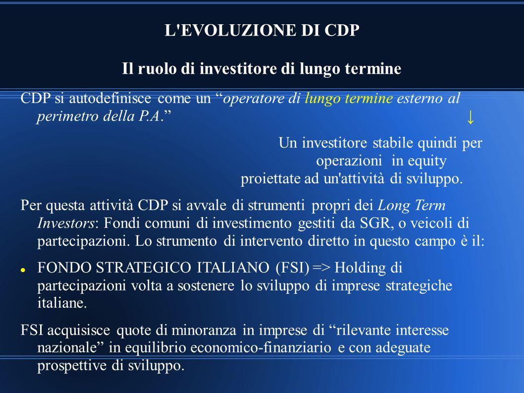 L EVOLUZIONE DI CDP Il ruolo di investitore di lungo termine