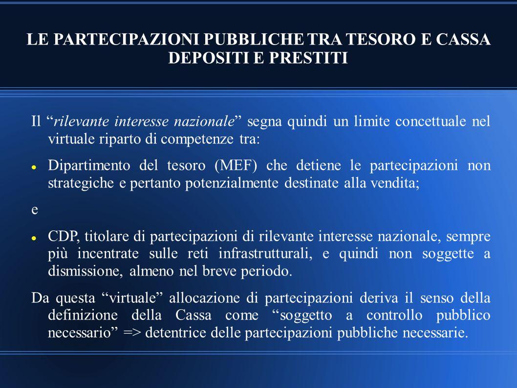 LE PARTECIPAZIONI PUBBLICHE TRA TESORO E CASSA DEPOSITI E PRESTITI
