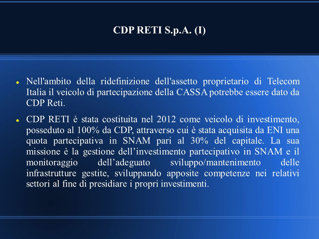 CDP RETI S.p.A. (I)