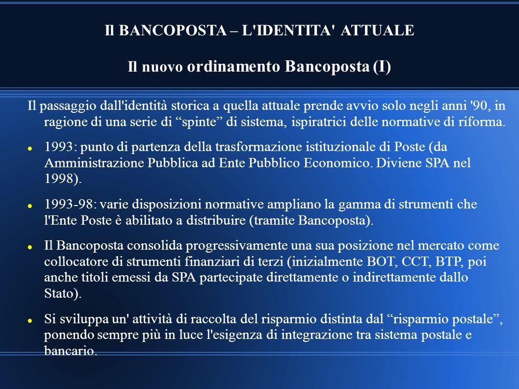 Il BANCOPOSTA – L IDENTITA ATTUALE Il nuovo ordinamento Bancoposta (I)