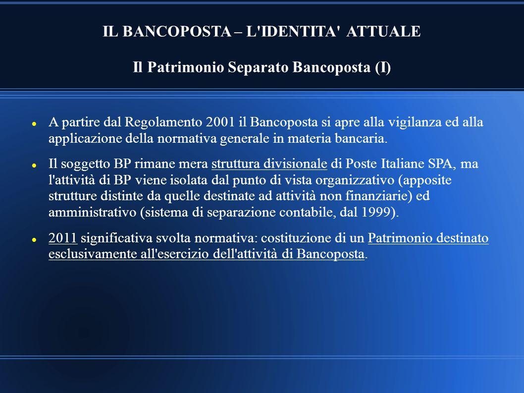 IL BANCOPOSTA – L IDENTITA ATTUALE Il Patrimonio Separato Bancoposta (I)
