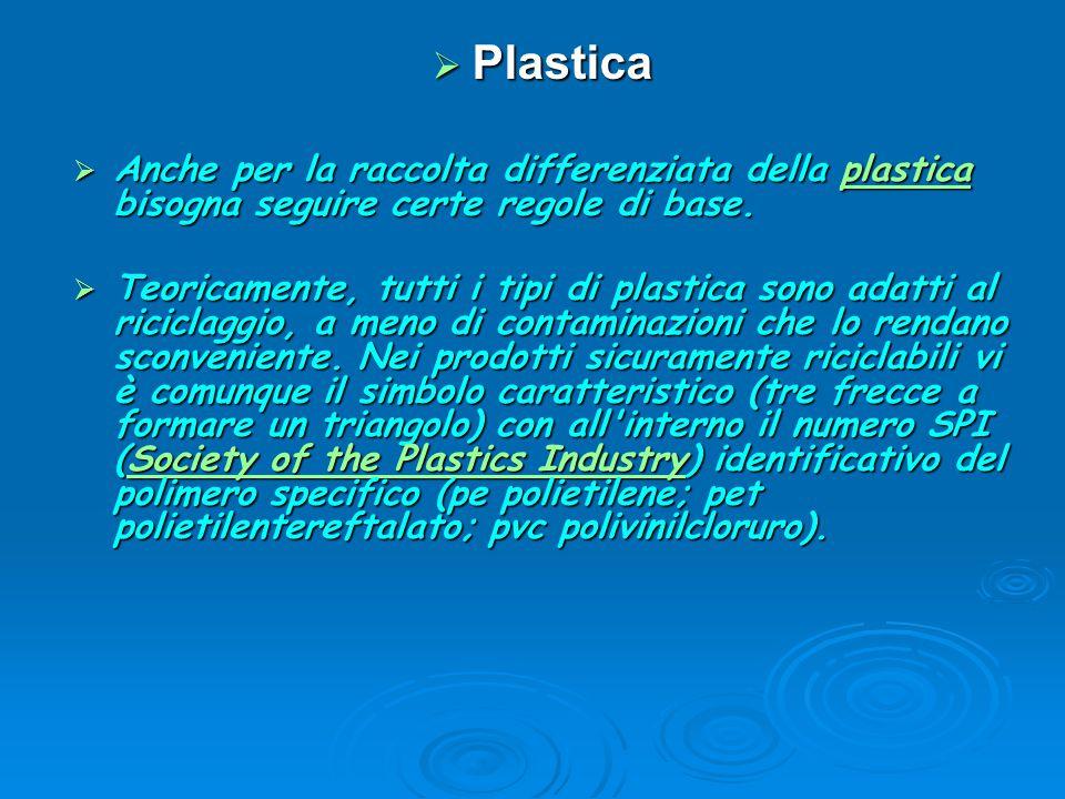 Plastica Anche per la raccolta differenziata della plastica bisogna seguire certe regole di base.