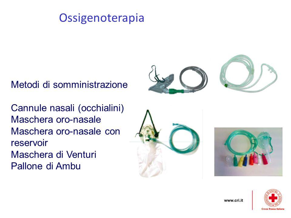 Ossigenoterapia Metodi di somministrazione Cannule nasali (occhialini)