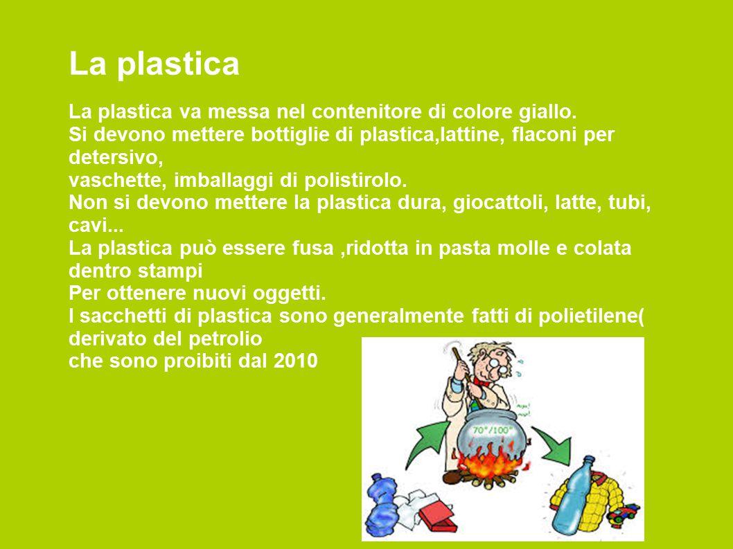 La plastica La plastica va messa nel contenitore di colore giallo.