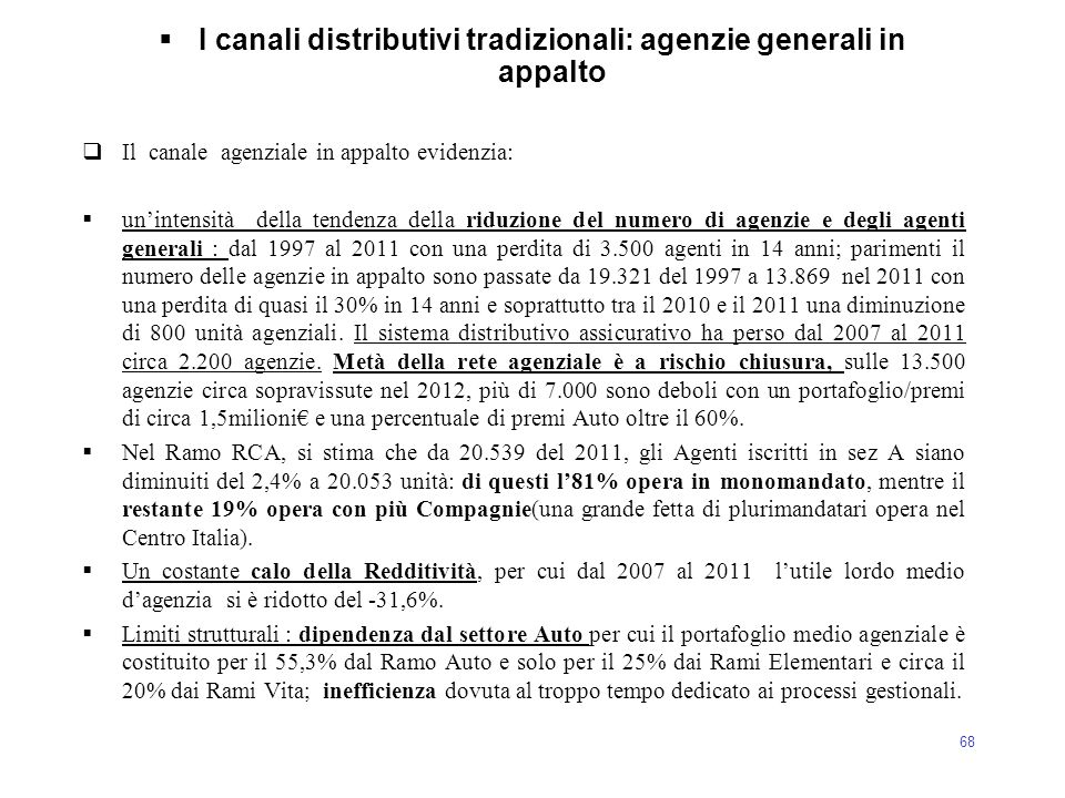 I canali distributivi tradizionali: agenzie generali in appalto