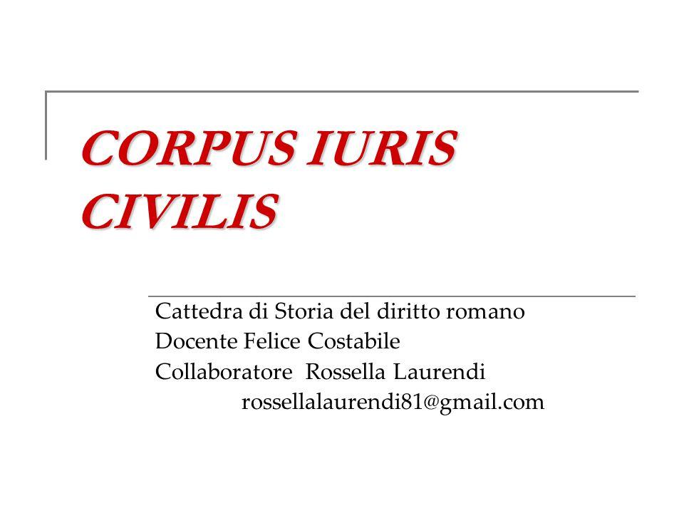 CORPUS IURIS CIVILIS Cattedra di Storia del diritto romano