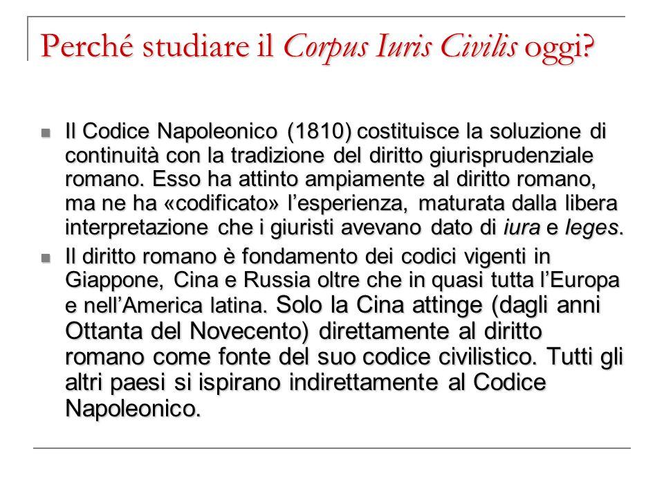Perché studiare il Corpus Iuris Civilis oggi