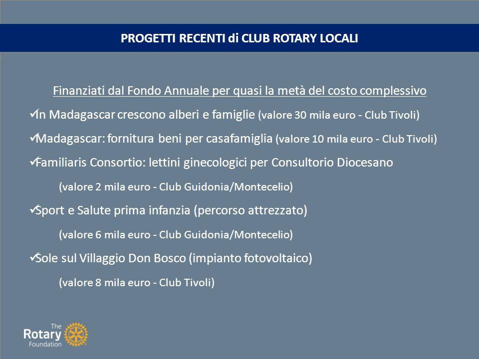PROGETTI RECENTI di CLUB ROTARY LOCALI