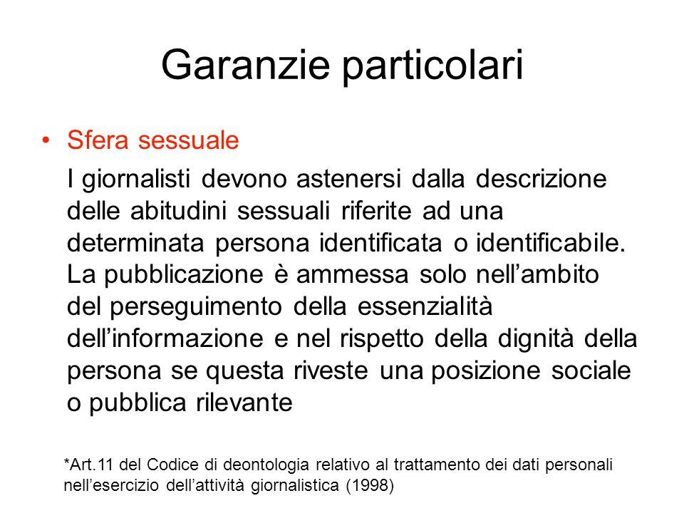 Garanzie particolari Sfera sessuale